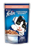 Felix, Феликс кусочки с лососем в желе для кошек, пауч*85гр
