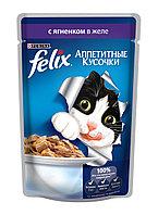Felix, Феликс кусочки с ягнёнком в желе для кошек, пауч*85гр