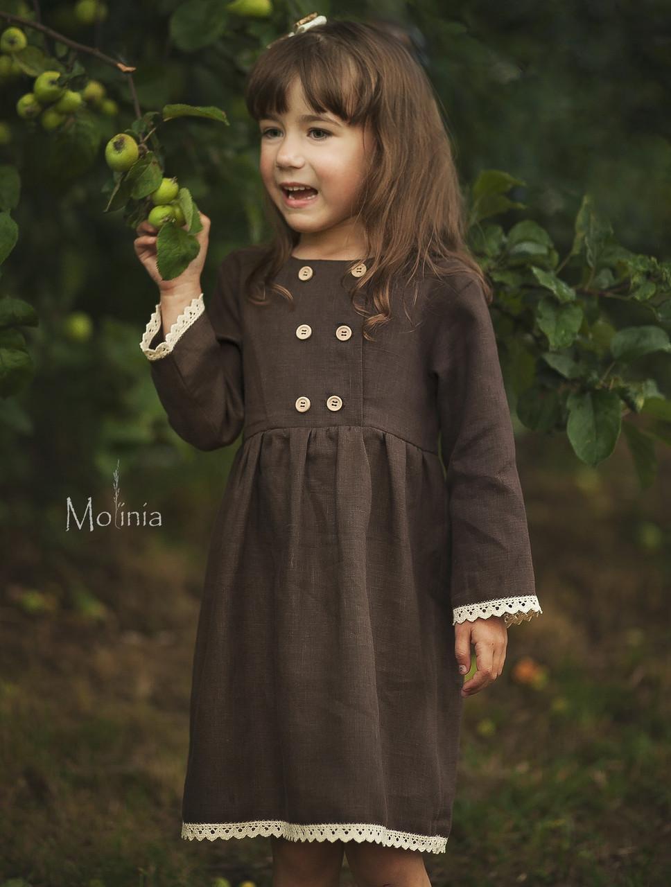 Льняное платье для девочек шоколадного цвета с белым кружевом - фото 3
