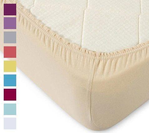 Простынь на резинке из трикотажной ткани от Текс-Дизайн (180х200 см / Фуксия), фото 2
