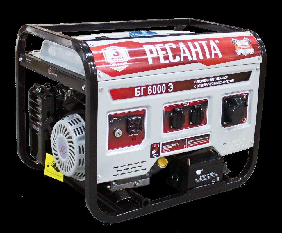 Электрогенератор БГ 8000 Э Ресанта (6.5 кВт) электростартер