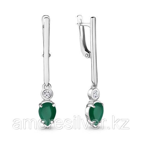 Серебряные серьги с агатом зелёным и фианитом    Aquamarine 4725409А.5