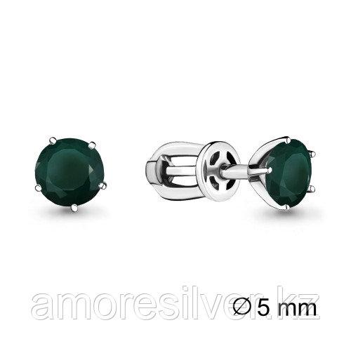 Серебряные серьги с агатом зелёным   Aquamarine 4403709.5