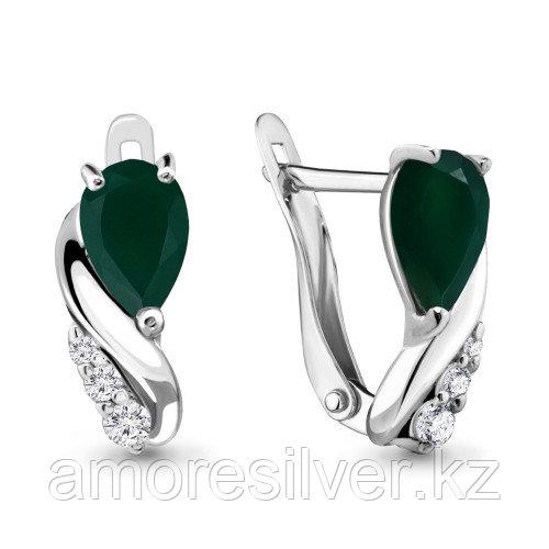 Серебряные серьги с агатом зелёным   Aquamarine 4453909А.5