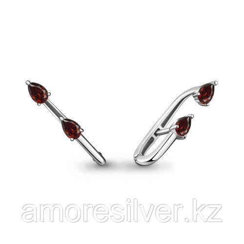 Серебряные серьги с гранатом   Aquamarine 4822603.5