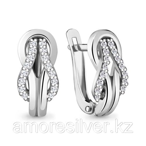 Серьги из серебра с фианитом Aquamarine 48352А.5