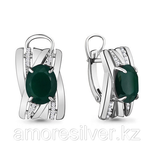 Серебряные серьги с агатом зелёным  AQUAMARINE  - есть комплект
