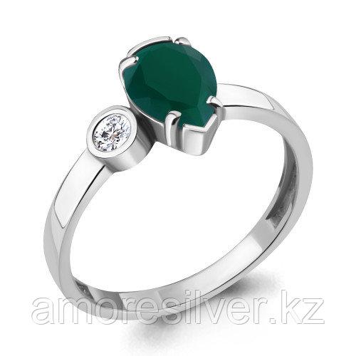 Серебряное кольцо с агатом зелёным и фианитом    Aquamarine 6922009А.5