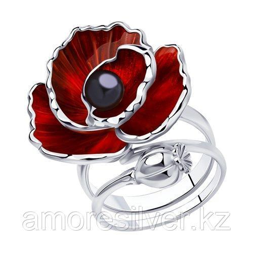 Кольцо из серебра с эмалью и жемчугом    SOKOLOV 94013133