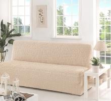 """Чехол для дивана""""KARNA"""" трехместный без подлокотников, без юбки, жатка"""