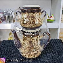 Чайный набор: заварочный чайник и сахарница. Материал: Керамика. Цвет: Бежевый/Коричневый. Набор: 2шт.