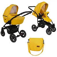 Детская коляска Pituso Confort 2 в 1 Желтый/Кожа Шафрановый, фото 1