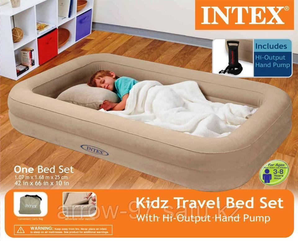 Детская надувная кровать с бортиками INTEX с насосом - фото 5
