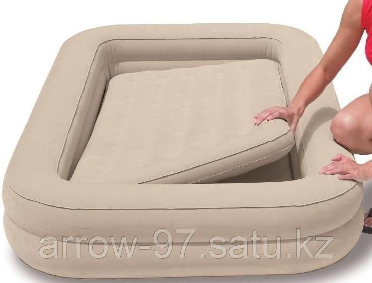 Детская надувная кровать с бортиками INTEX с насосом - фото 2