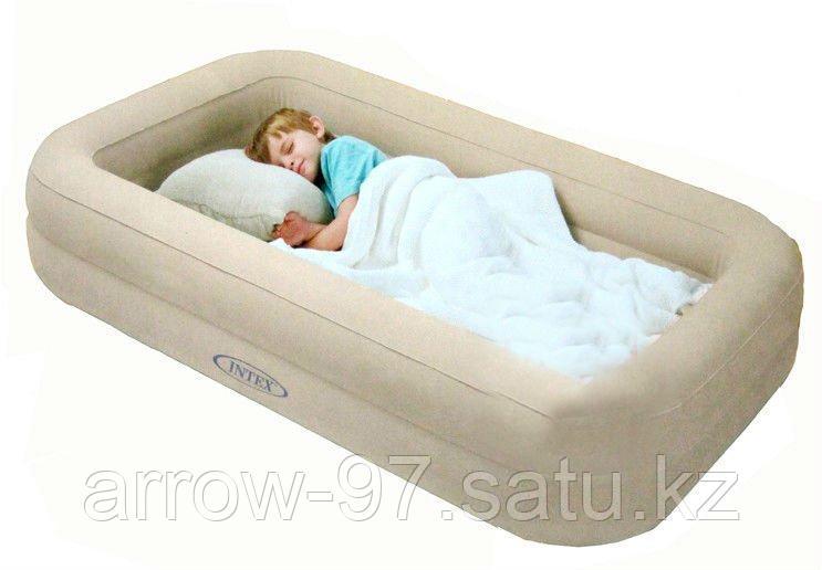 Детская надувная кровать с бортиками INTEX с насосом - фото 3