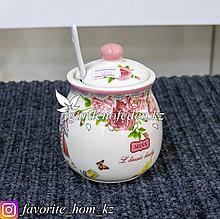 Сахарница с ложечкой, с декором. Материал: Керамика. Цвет: Белый/Лососевый.