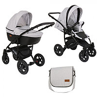 Детская коляска Pituso Confort 2 в 1 Серый/Кожа Черный
