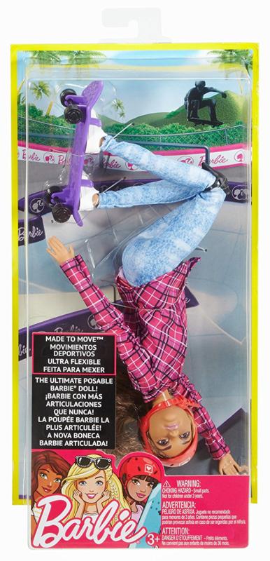 "Barbie ""Безграничные движения"" Кукла Барби Шатенка - Скейтбордистка"