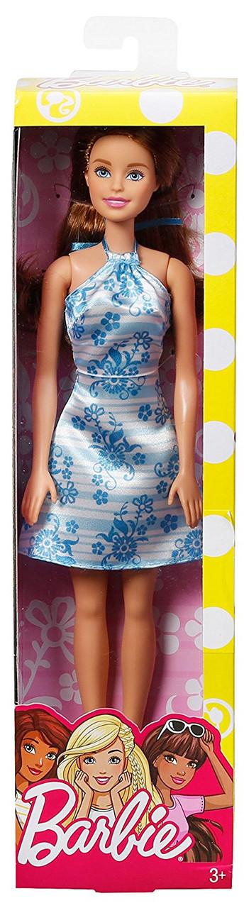 """Barbie """"Гламурный стиль"""" Кукла Барби Шатенка в бело-голубом платье"""