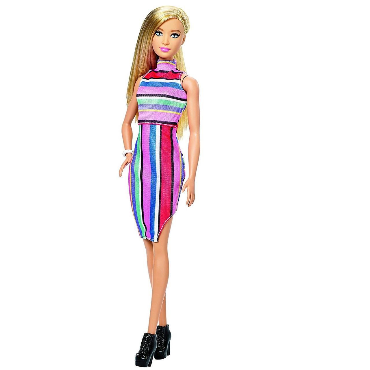 """Barbie """"Игра с модой"""" Кукла Барби Блондинка в полосатом платье #68 (Высокая)"""