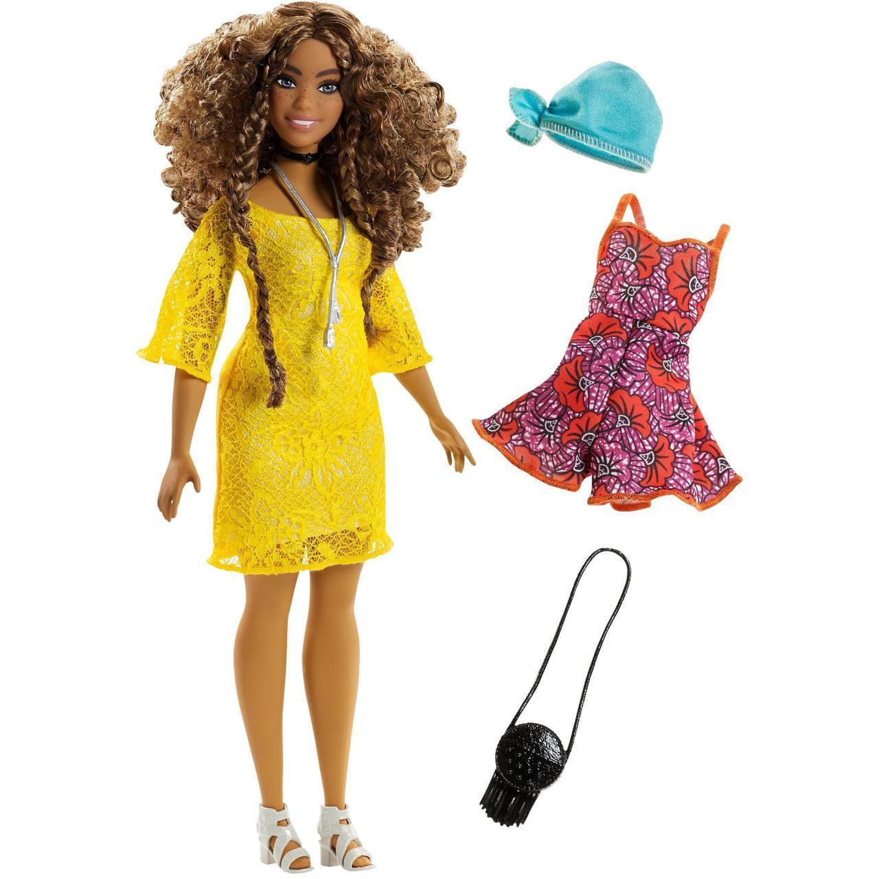 """Barbie """"Игра с модой"""" Кукла Барби в жёлтом платье #84 (Пышная)"""