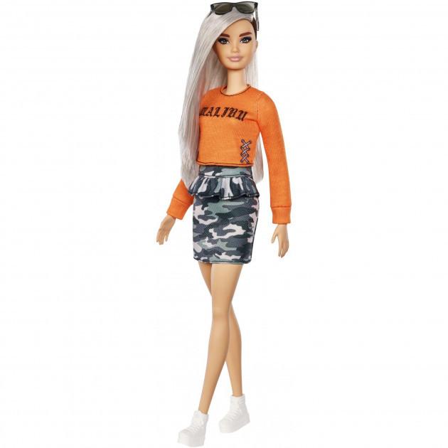 """Barbie """"Игра с модой"""" Кукла Барби с серебристыми волосами в оранжевом топе #107 (Миниатюрная)"""