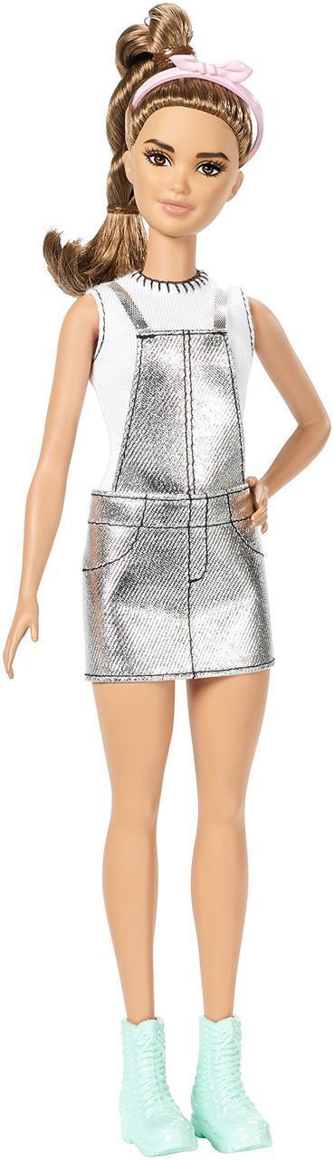 """Barbie """"Игра с модой"""" Кукла Барби Шатенка в серебряном комбинезоне #62 (Миниатюрная)"""
