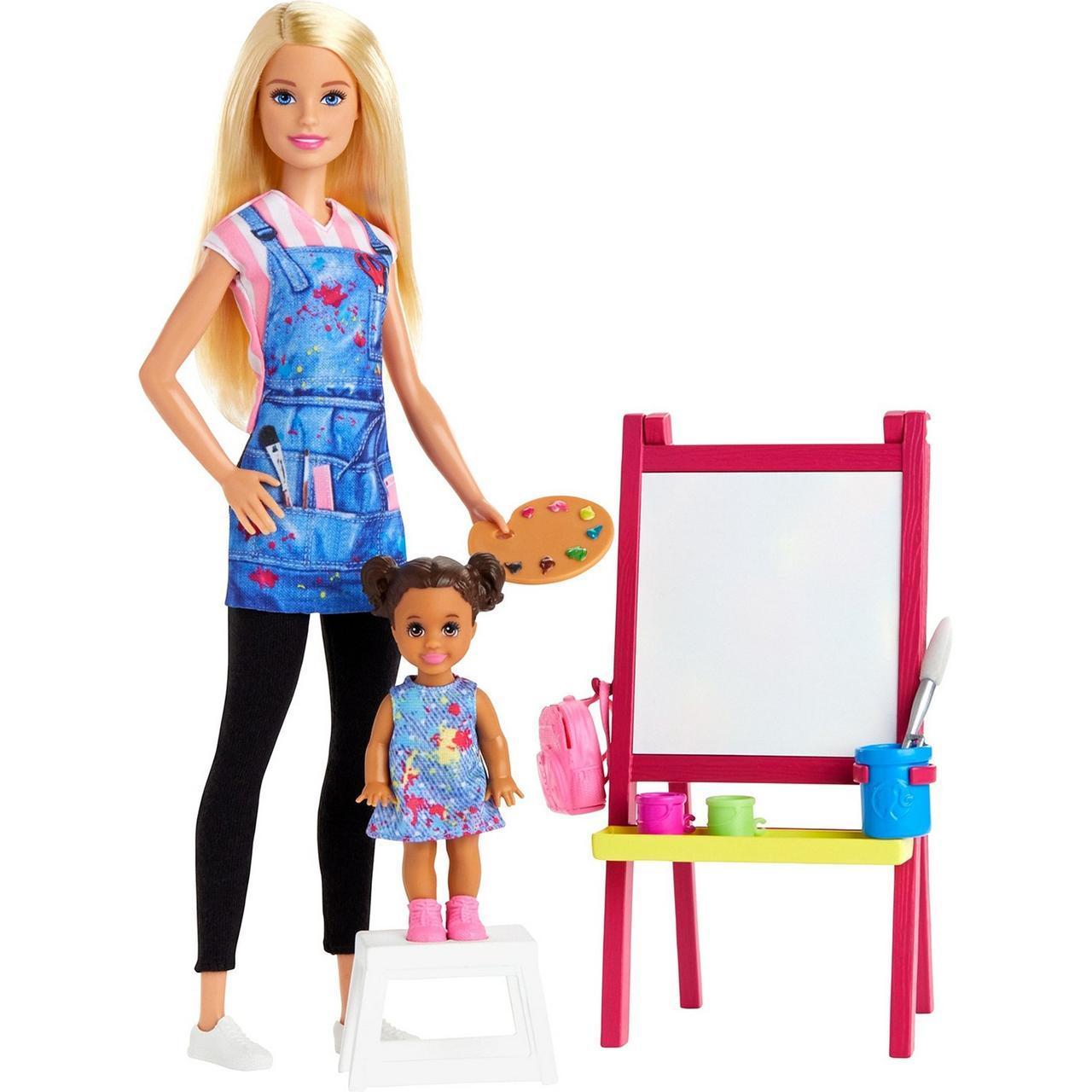 """Barbie """"Профессии"""" Игровой набор """"Кукла Барби - Учитель Рисования"""", Кем быть?"""