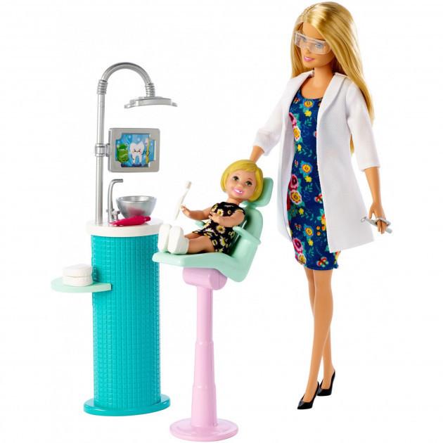 """Barbie """"Профессии"""" Игровой набор """"Кукла Барби Блондинка - Стоматолог"""", Кем быть?"""