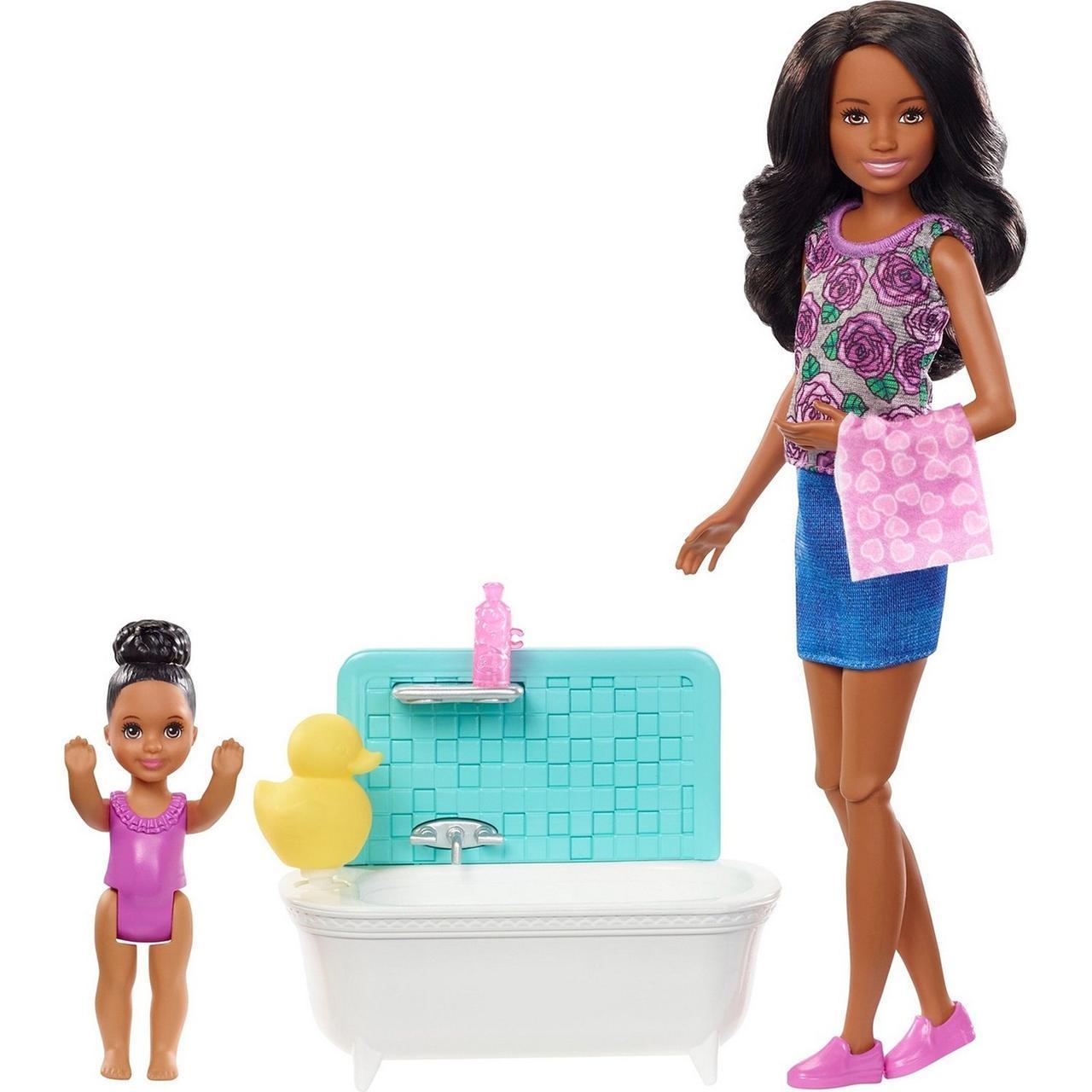 "Barbie ""Скиппер, Нянечки"" Кукла Барби-Подросток, Афроамериканка Набор с ванночкой"