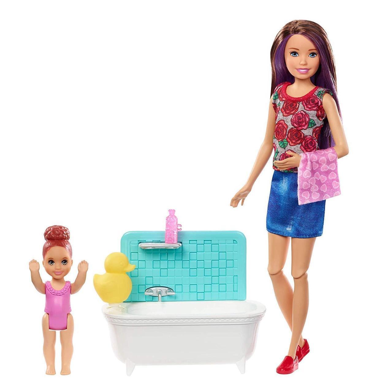 "Barbie ""Скиппер, Нянечки"" Кукла Барби-Подросток, Шатенка Набор с ванночкой"