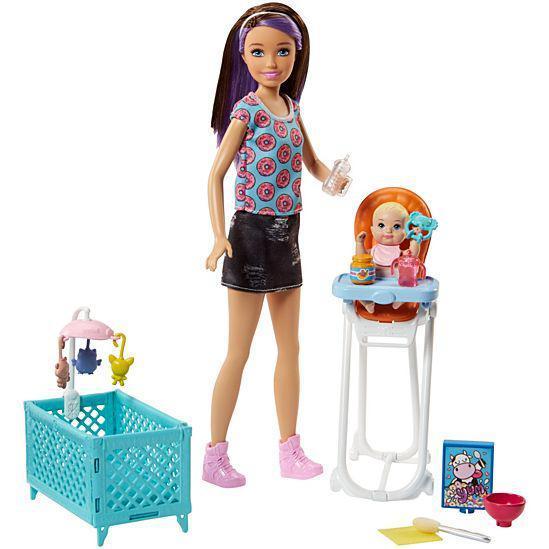 """Barbie """"Скиппер, Нянечки"""" Кукла Барби-Подросток, Шатенка Набор с манежкой"""