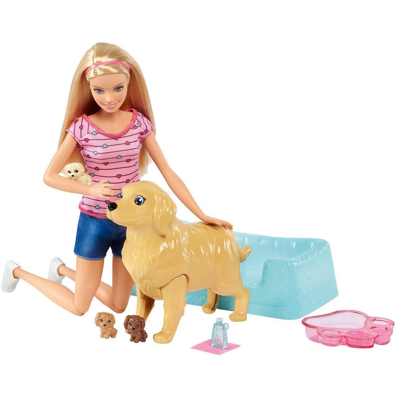 """Barbie Игровой набор """"Кукла Барби и собака с новорожденными щенками"""""""