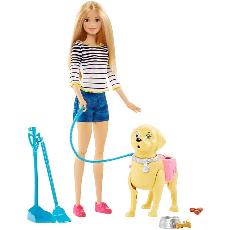 """Barbie Игровой набор """"Прогулка с питомцем"""", Кукла Барби с собакой"""