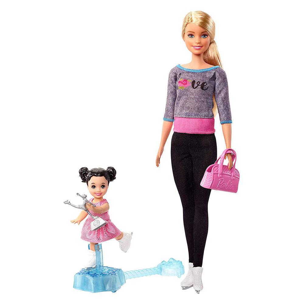 """Barbie Игровой набор """"Тренер по фигурному катанию"""", Кукла Барби с малышкой"""