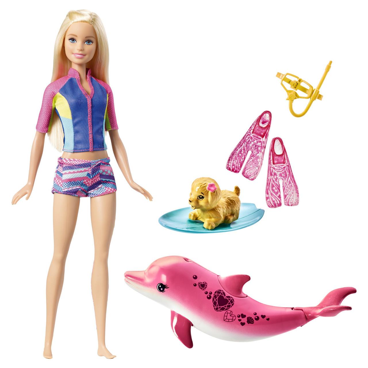 """Barbie Игровой набор Барби """"Морские приключения"""" - Кукла с дельфином (звук)"""