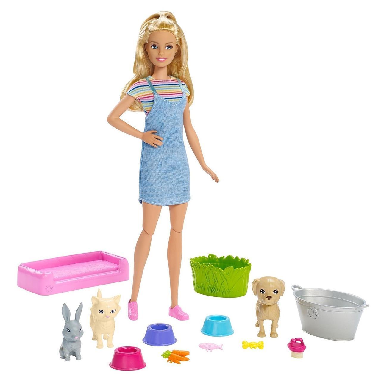 """Barbie Игровой набор с куклой Барби """"Умывание питомцев"""""""