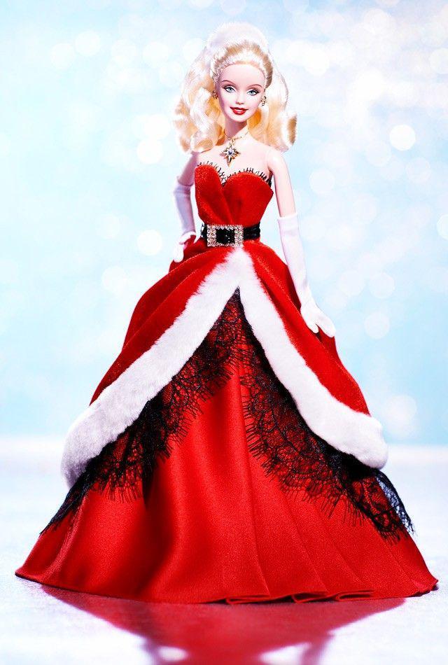 Barbie Коллекционная кукла Блондинка в зеленом платье - Праздничная 2007, Барби