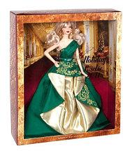 Barbie Коллекционная кукла Блондинка в зеленом платье - Праздничная 2011, Барби