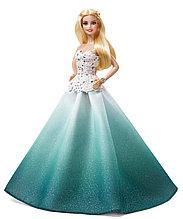 Barbie Коллекционная кукла Блондинка в зеленом платье - Праздничная 2016, Барби