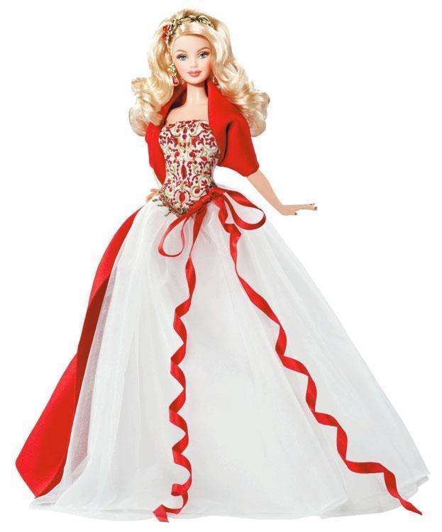 Barbie Коллекционная кукла Блондинка в красном платье - Праздничная 2010, Барби