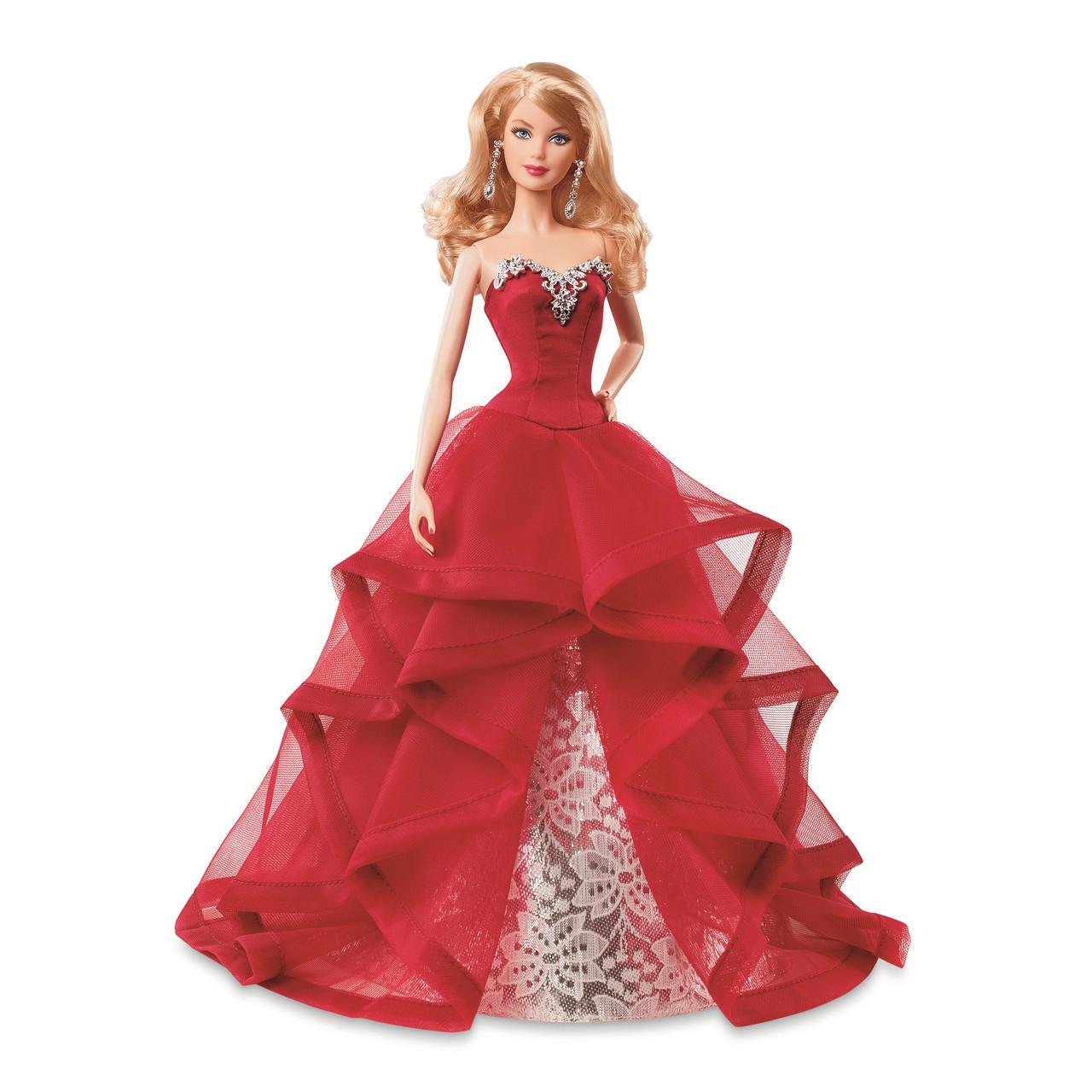 Barbie Коллекционная кукла Блондинка в красном платье - Праздничная 2015, Барби