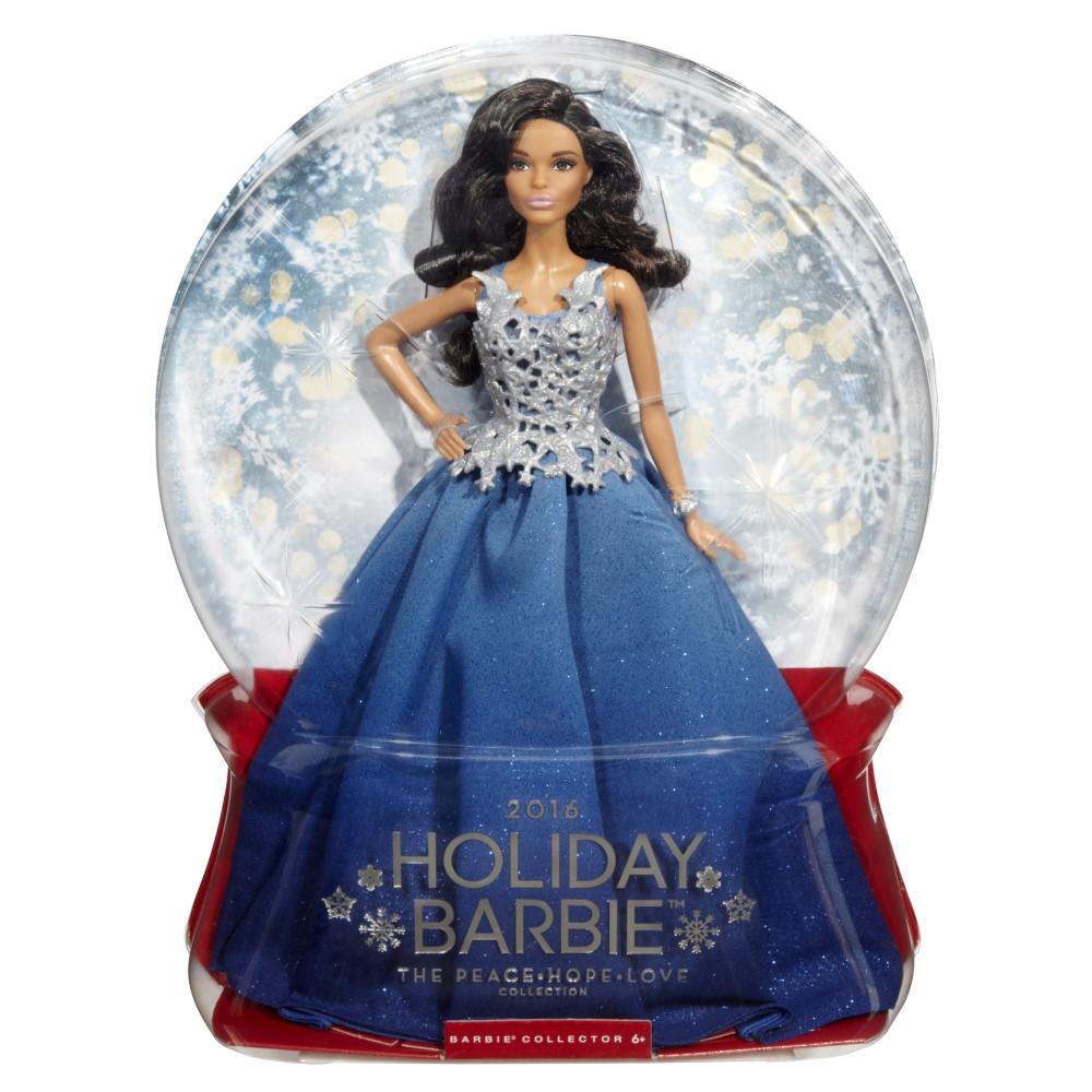 Barbie Коллекционная кукла Брюнетка в синем платье - Праздничная 2016, Барби