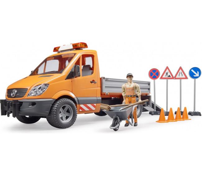 Bruder Игрушечный Автомобиль Дорожной службы Mercedes-Benz Sprinter с фигуркой рабочего (Брудер)