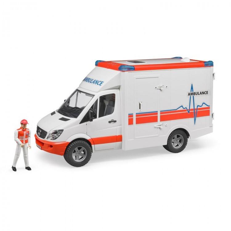 Bruder Игрушечный Автомобиль Скорой помощи Mercedes-Benz Sprinter с фигуркой водителя (Брудер)