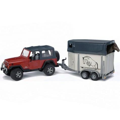 Bruder Игрушечный Внедорожник Jeep Wrangler c прицепом-коневозкой и лошадью (Брудер)