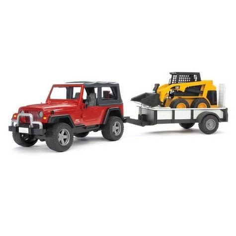 Bruder Игрушечный Внедорожник Jeep Wrangler c прицепом-платформой и погрузчиком CAT (Брудер)