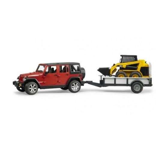 Bruder Игрушечный Внедорожник Jeep Wrangler Unlimited Rubicon c прицепом и погрузчиком CAT (Брудер)