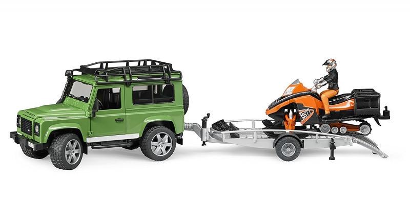 Bruder Игрушечный Внедорожник Land Rover Defender с прицепом cнегоход с гонщиком (Брудер)