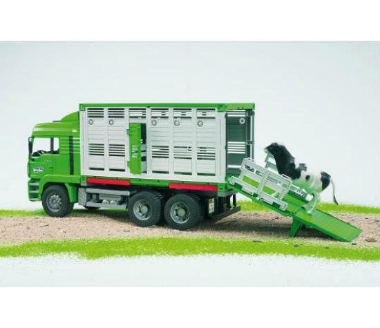 Bruder Игрушечный Грузовик для перевозки животных MAN с коровой (Брудер)